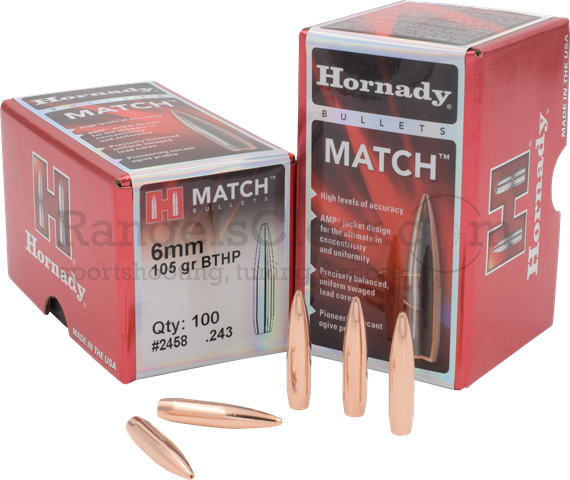 Hornady Bullets BTHP Match 6,0mm .243 105 grs