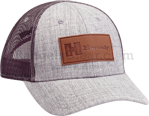 Hornady Cap Gray with Leather Logo Mesh